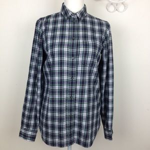 Madewell size S Green red white flannel shirt